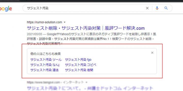 Googleの【他の人はこちらも検索】PCとSPの表示について