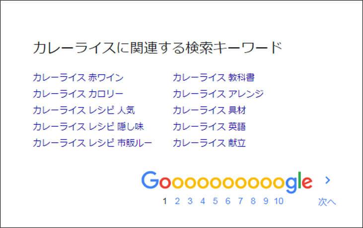 GooglePC検索【カレーライスに関連する検索キーワード】