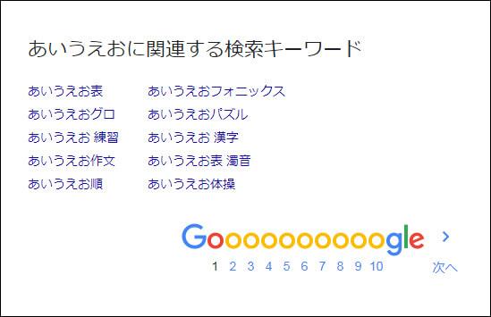 GooglePC検索【あいうえおに関連する検索キーワード】