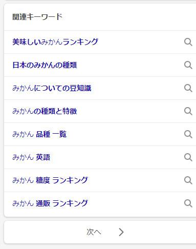 Bing関連キーワード(SP検索)「みかん」